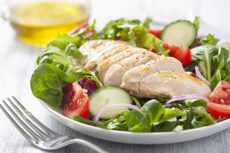 Chicken salad with tomatoes and cucumber. S royalty free stock photos