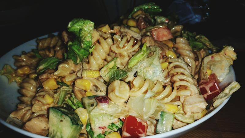 Chicken Sallad with pasta stock images