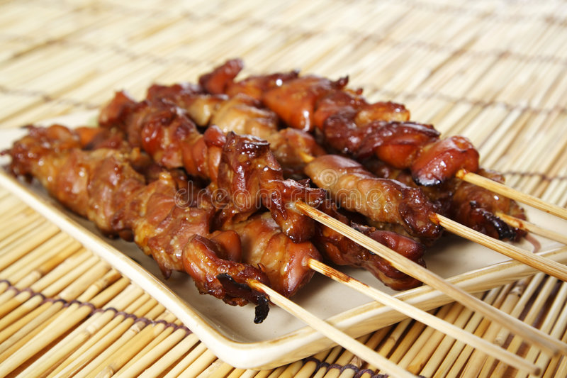 Chicken satay royalty free stock photos