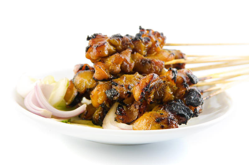 Chicken satay. Traditional Malay food, ramadan dish. Malaysian cuisine royalty free stock photography