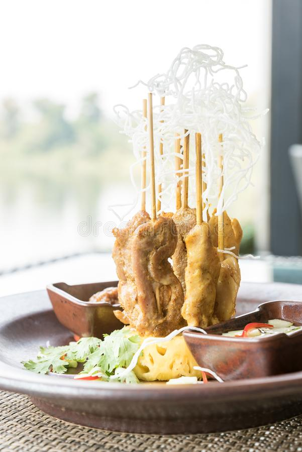 Chicken Sate Skewers stock photography
