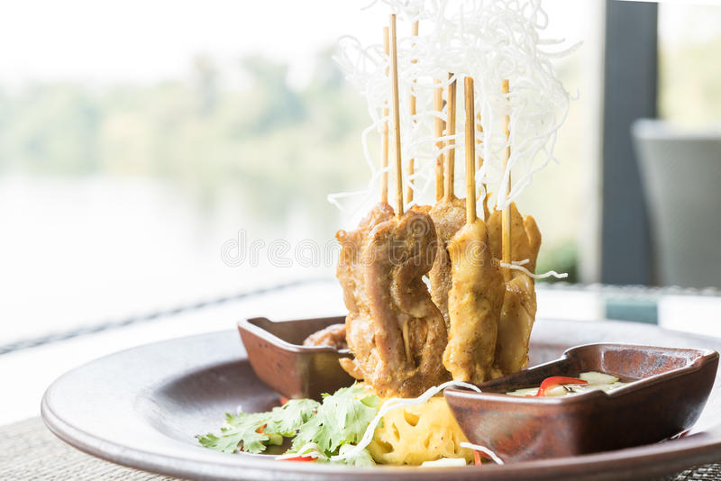 Chicken Sate Skewers royalty free stock images