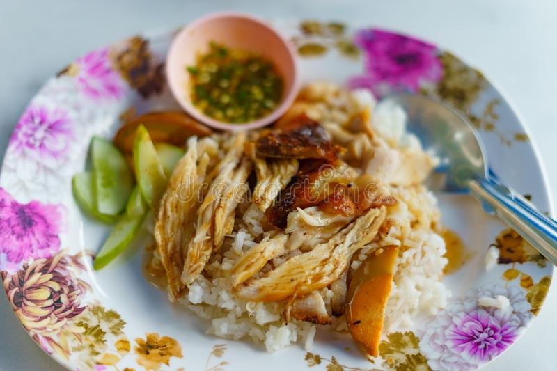 Chicken with sauce over rice royalty free stock photos