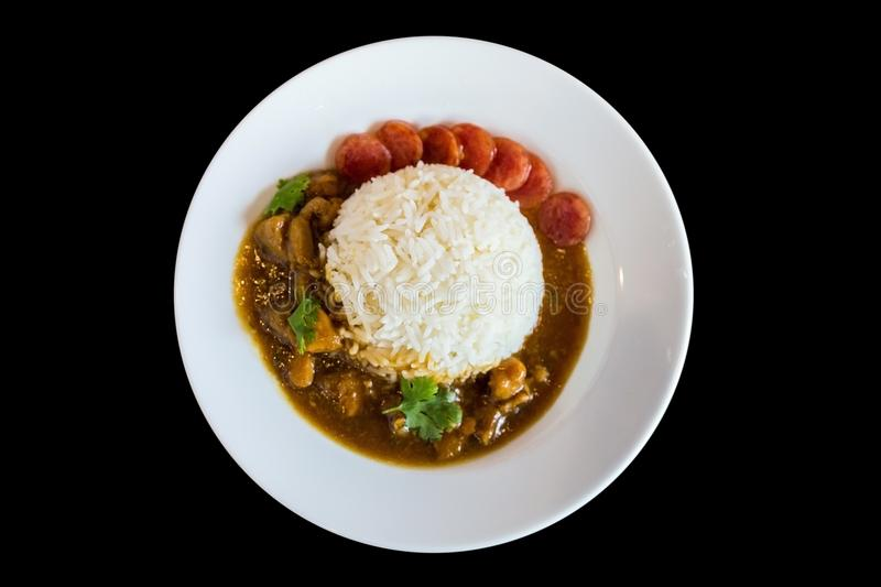 Chicken with Sauce Over Rice with sausage, Green coriander and Thai Red Sausage stock photography