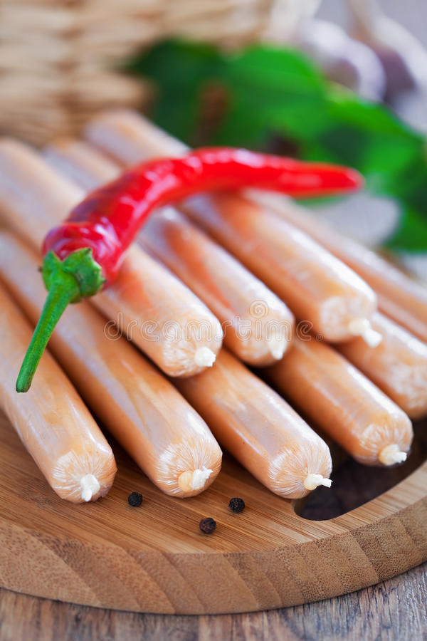 Download Chicken sausages stock photo. Image of green, brown, leaf - 25989472