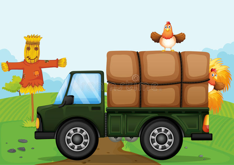 A Chicken And The Scarecrow Stock Image