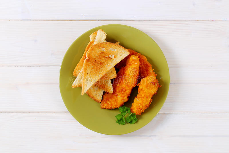 Download Chicken Schnitzels With Toasts Stock Photo - Image of bread, escalope: 83708712