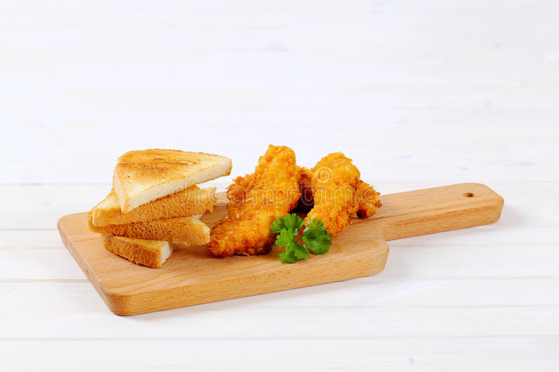 Download Chicken Schnitzels With Toasts Stock Photo - Image: 83708420