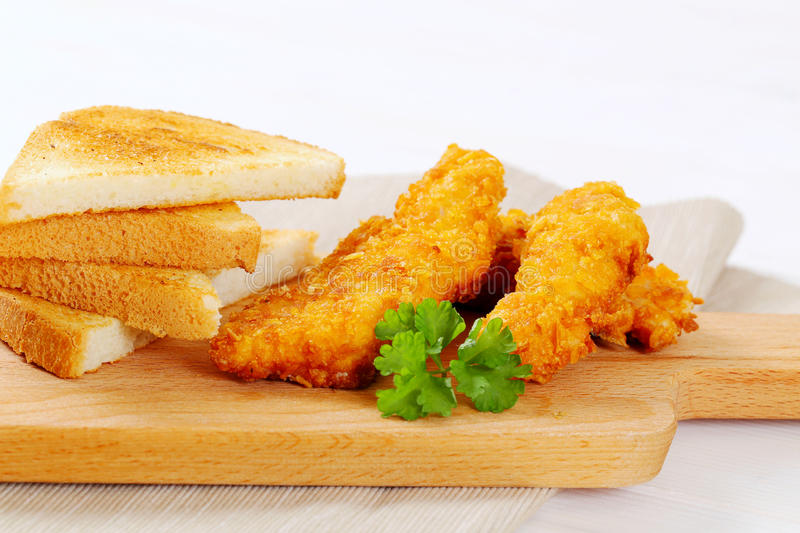 Download Chicken Schnitzels With Toasts Stock Photo - Image: 83707446