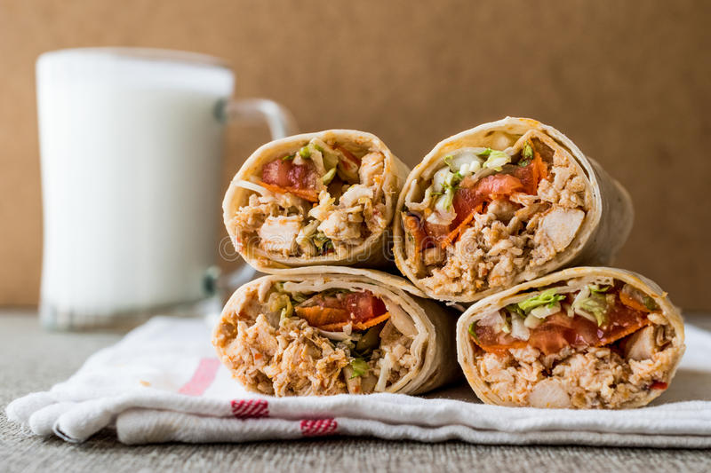 Chicken shawarma doner kebab with ayran or buttermilk. Fast food concept stock image