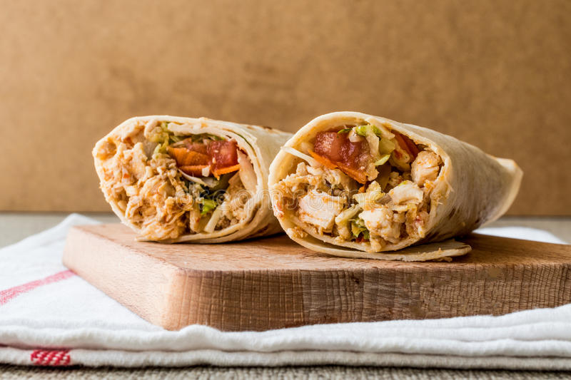 Chicken shawarma durum doner kebab copy space. Fast food concept stock image
