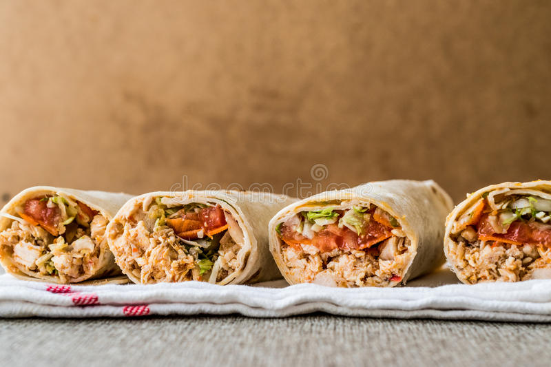Chicken shawarma durum doner kebab copy space. Fast food concept royalty free stock image