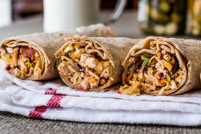 Chicken shawarma durum kebab with ayran or buttermilk / Tantuni. Fast food royalty free stock photos