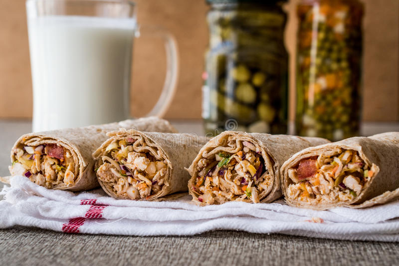 Chicken shawarma durum kebab with ayran or buttermilk / Tantuni. Fast food stock photography