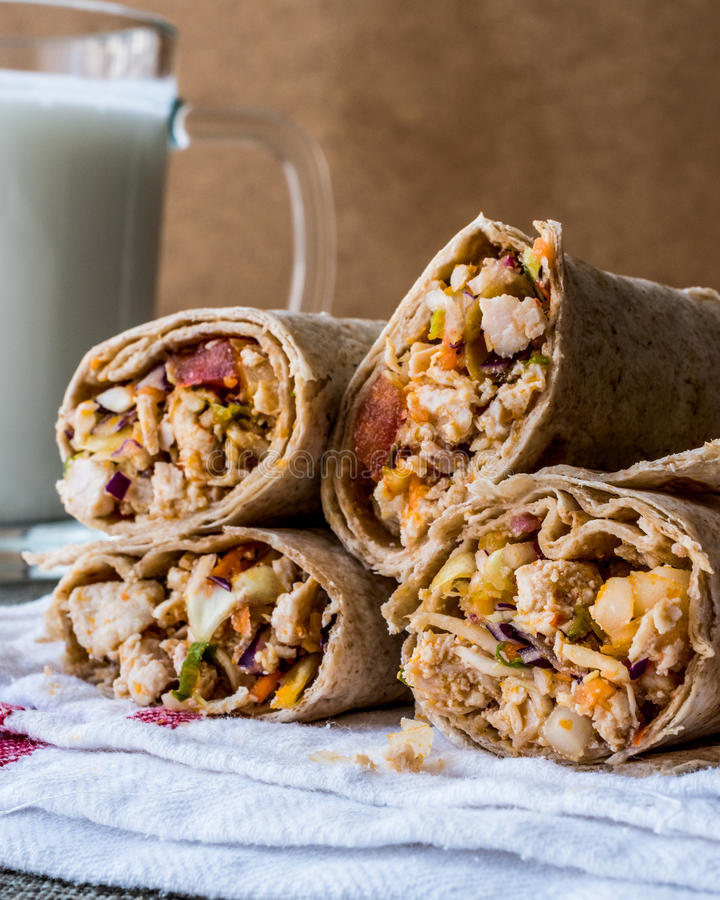 Chicken shawarma durum kebab with ayran or buttermilk / Tantuni. Fast food royalty free stock images