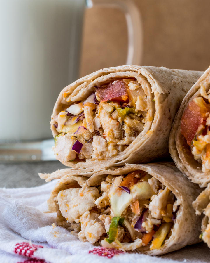 Chicken shawarma durum kebab with ayran or buttermilk / Tantuni. Fast food royalty free stock image