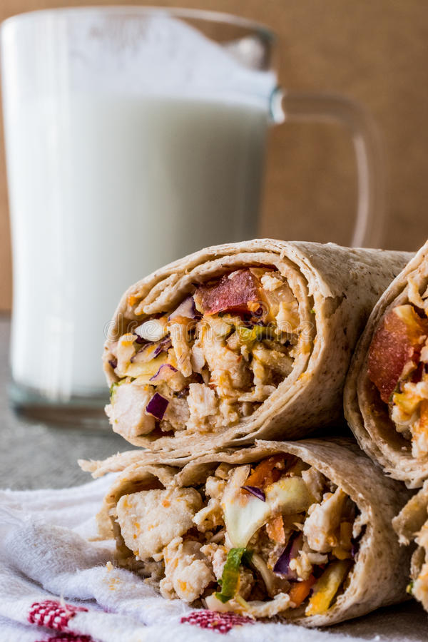 Chicken shawarma durum kebab with ayran or buttermilk / Tantuni. Fast food royalty free stock photography