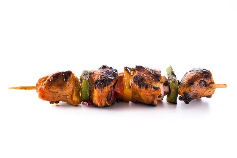 Chicken shish kebab with vegetables isolated. On white background royalty free stock photography