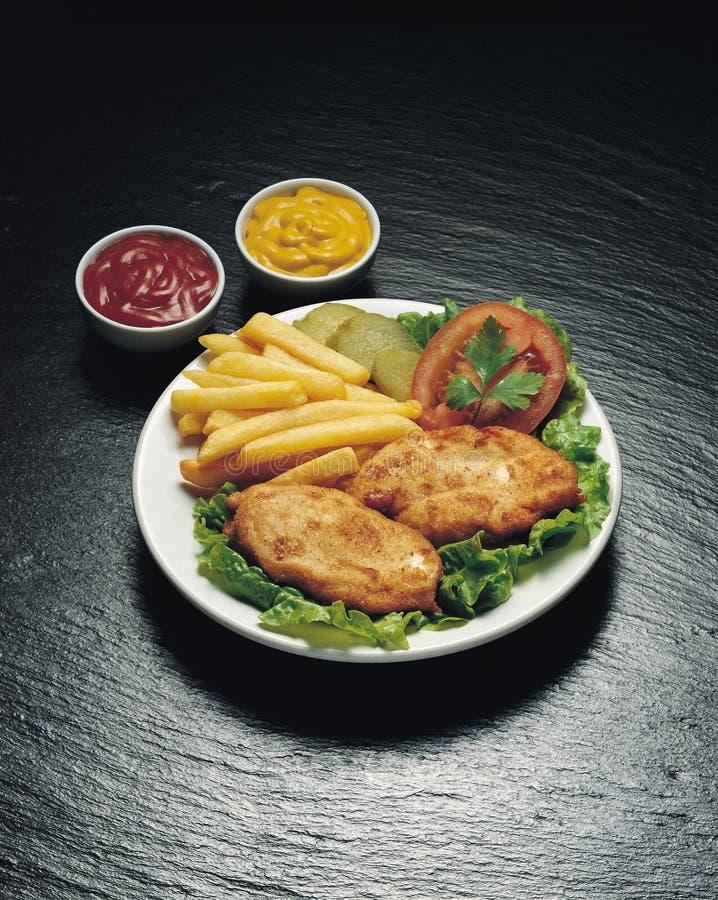 Chicken shnitzel royalty free stock image