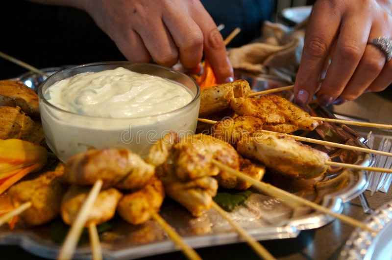 Chicken on a skewer royalty free stock images
