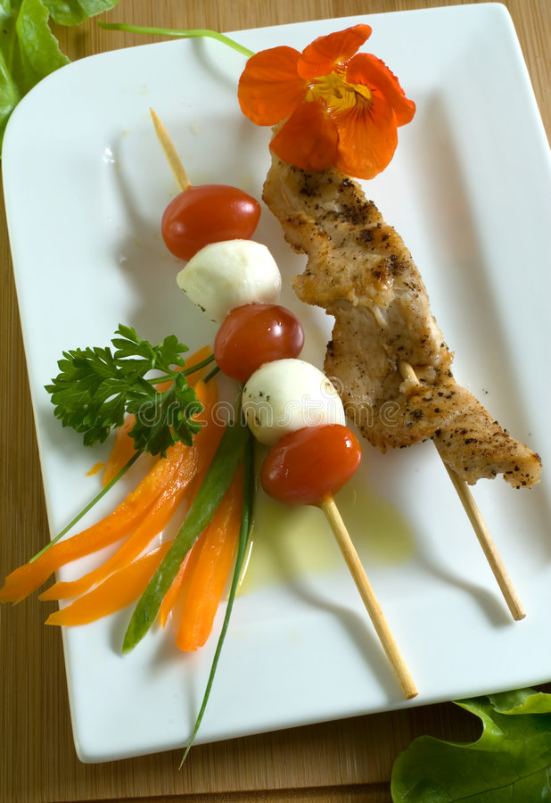 Chicken skewer royalty free stock images