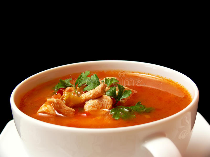 Download Chicken soup stock photo. Image of entree, black, garnish - 12114870