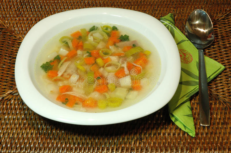 Chicken Soup. Close-up of a Chicken soup royalty free stock photo
