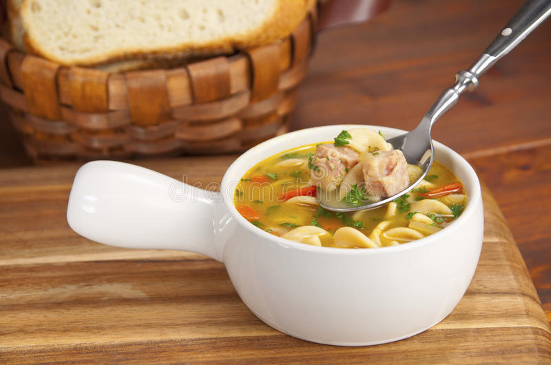 Download Chicken soup stock photo. Image of basket, country, bread - 23371994