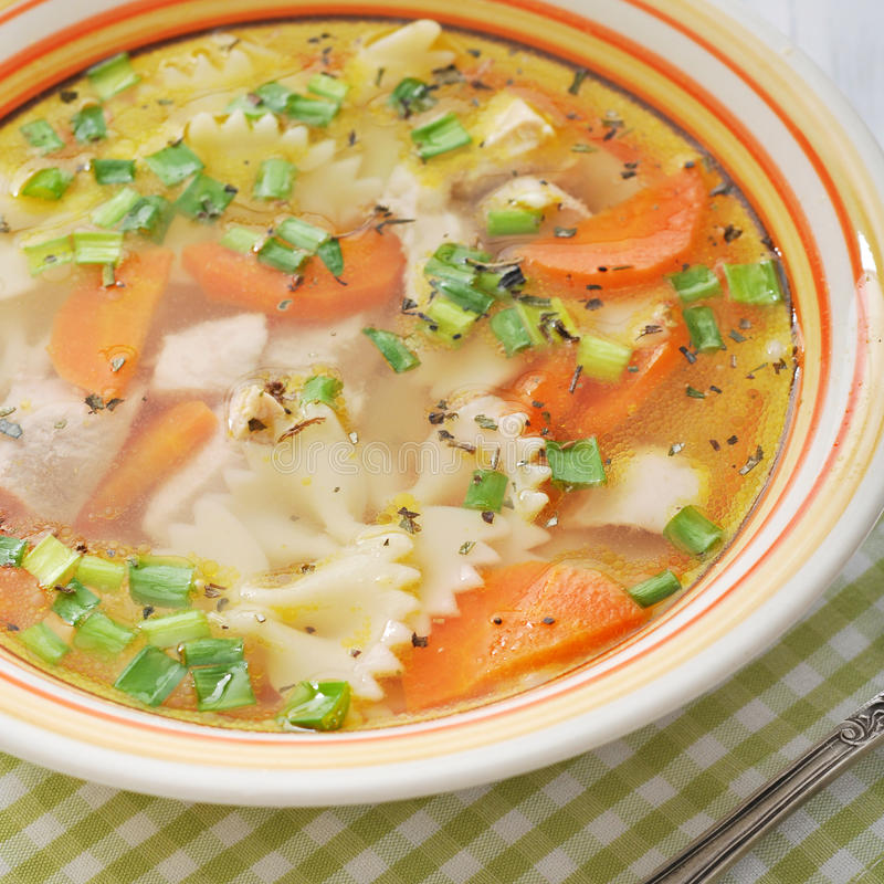 Download Chicken soup with pasta stock image. Image of homemade - 38876835