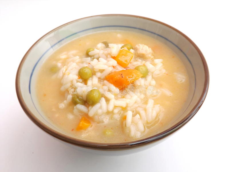 Chicken soup with rice royalty free stock photography