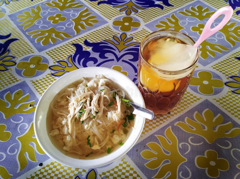 Chicken soup, Soto ayam is a delicious and tasty Indonesian special dish. Soto ayam is ready to be eaten. Soto ayam is a delicious and tasty Indonesian special stock image