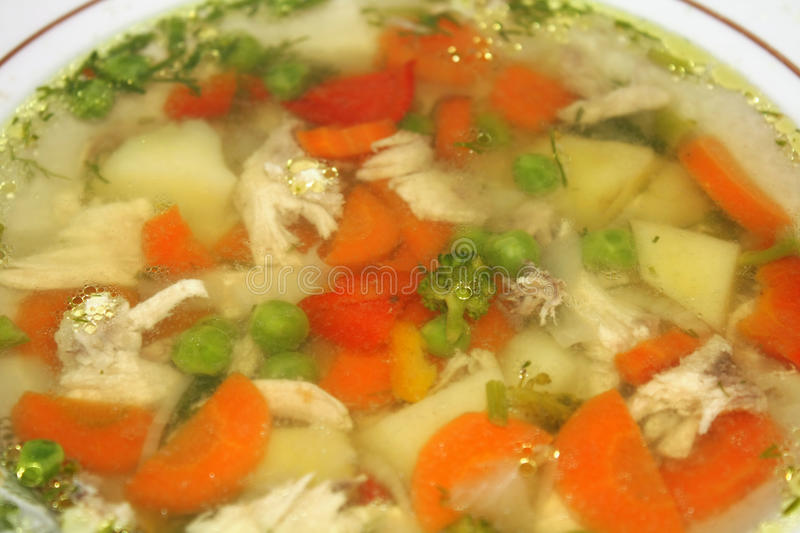 Chicken soup with vegetables. In a plate stock images
