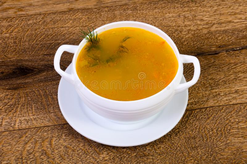 Chicken soup with vegetables. And herbs royalty free stock photo
