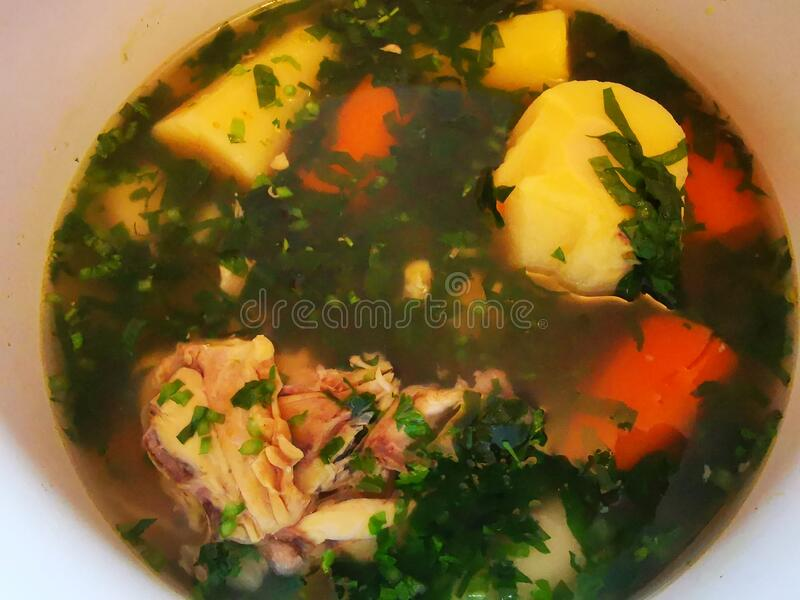 Chicken soup with vegetables and ramsons royalty free stock images