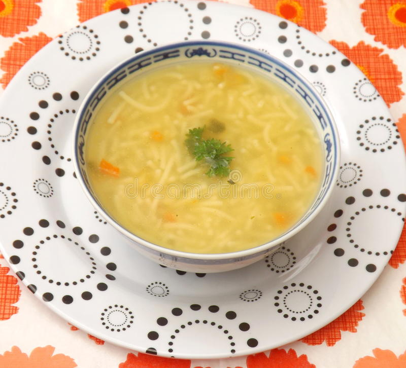 Free Chicken Soup With Noodles Stock Photo - 55268150