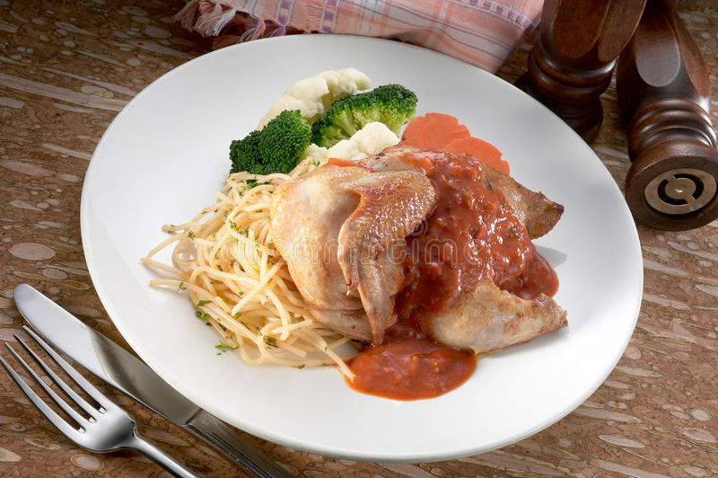 Chicken spaghetti. A plate of chicken spaghetti royalty free stock photos