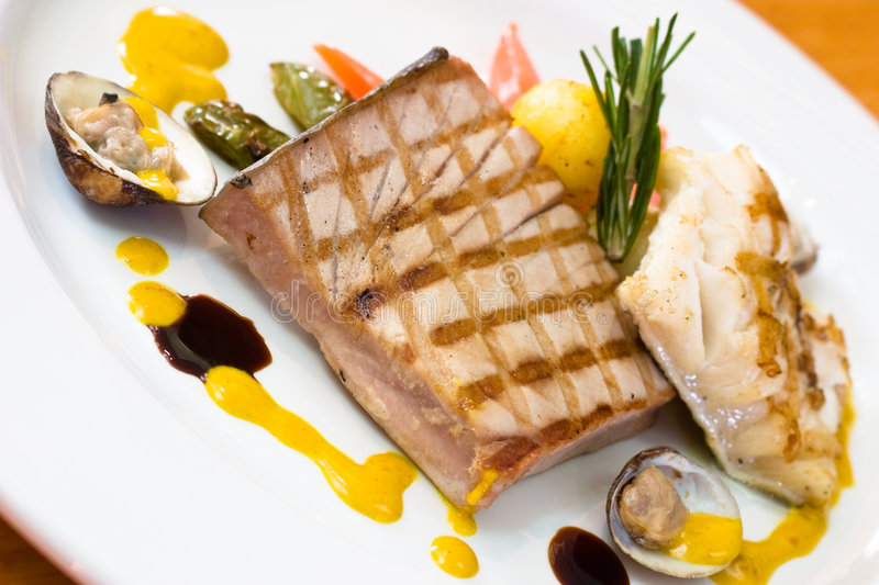 Chicken Steak with Oysters royalty free stock image