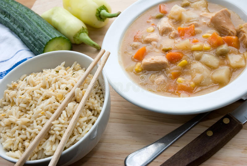 Download Chicken stew and rice stock photo. Image of cucumber - 12164812