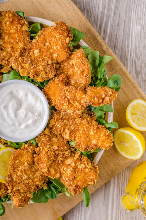 Chicken strips with delish garlic dip royalty free stock photo
