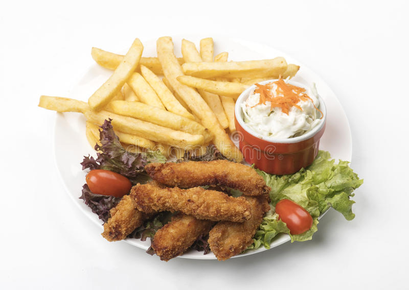 Chicken Strips With Fries isolated royalty free stock photo