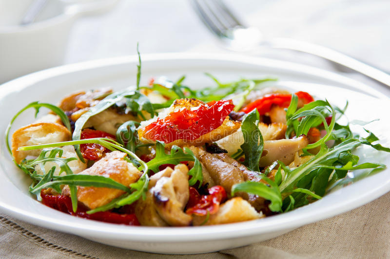 Chicken with sundried tomato and rocket salad stock image