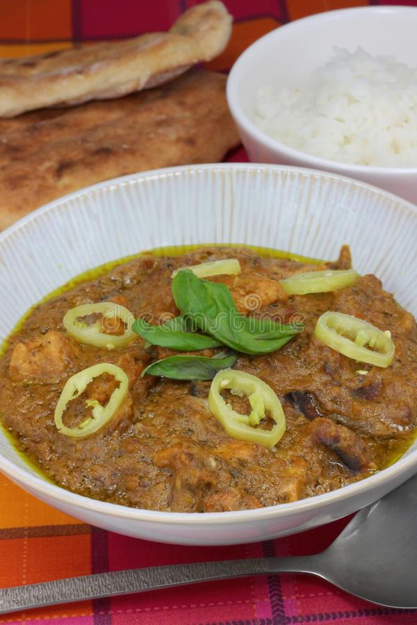 Chicken and sweet potato curry with rice and naan