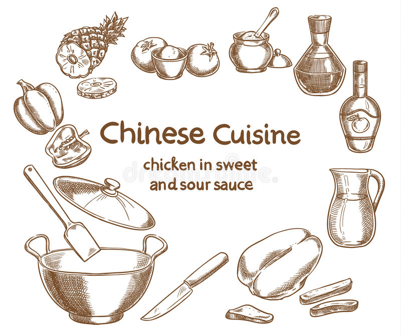 Chicken in sweet and sour sauce, ingredients stock illustration
