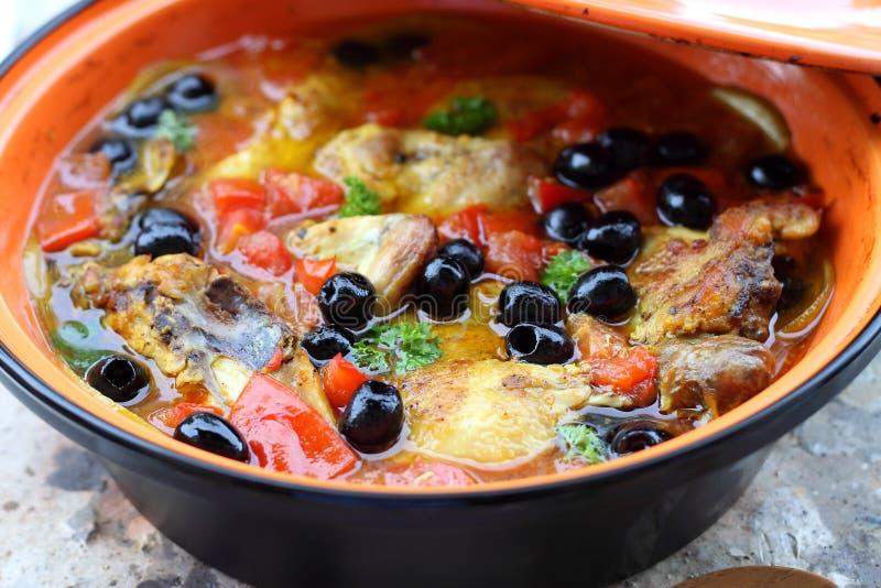 Chicken tajine. Delicious homemade moroccan chicken tagine royalty free stock photos