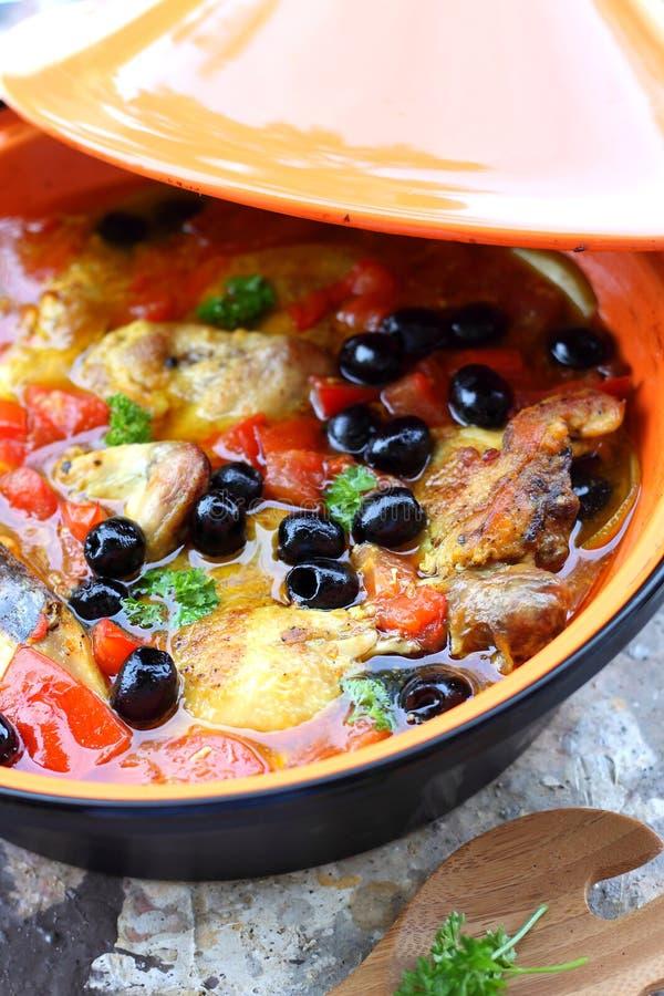 Chicken tajine. Delicious homemade moroccan chicken tagine stock photo