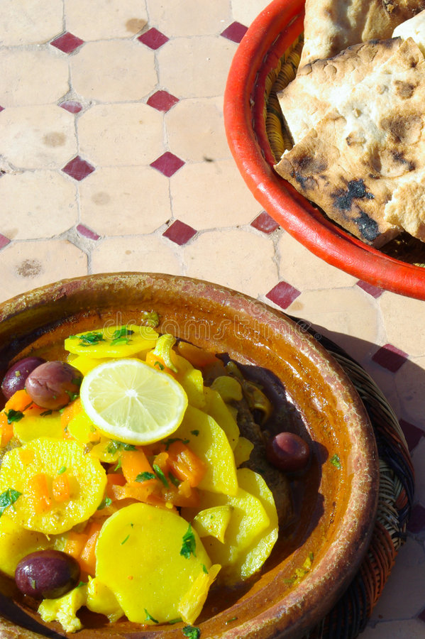 Chicken Tajine in Morocco. Chicken Tajine is the typical food of Morocco stock photography