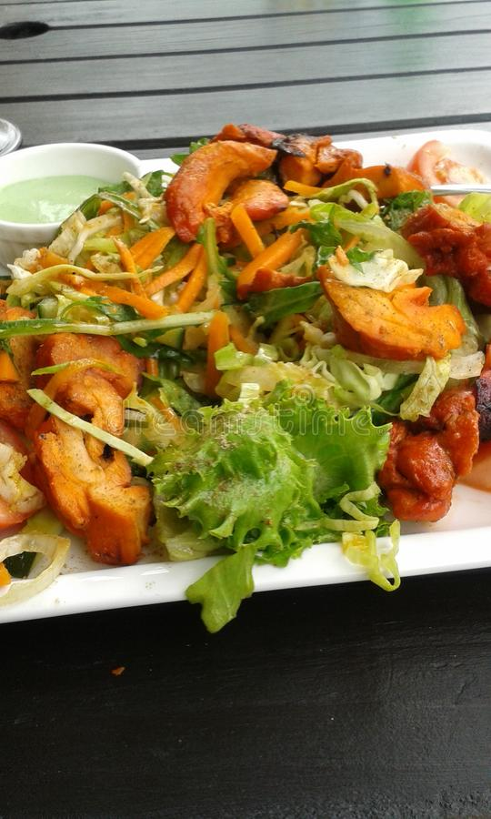 Chicken tandoori. Salad yasty home grown vegies stock photos
