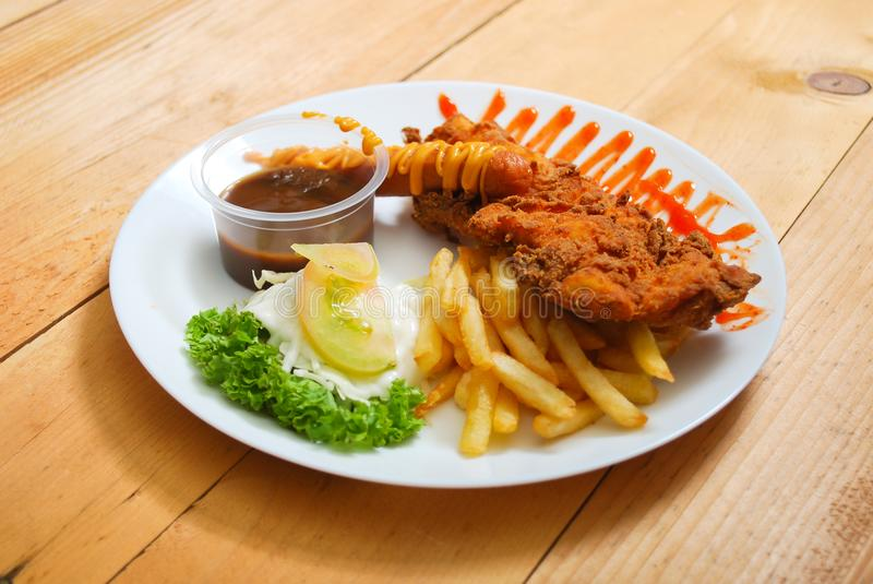 Chicken tempura serving on plate royalty free stock images