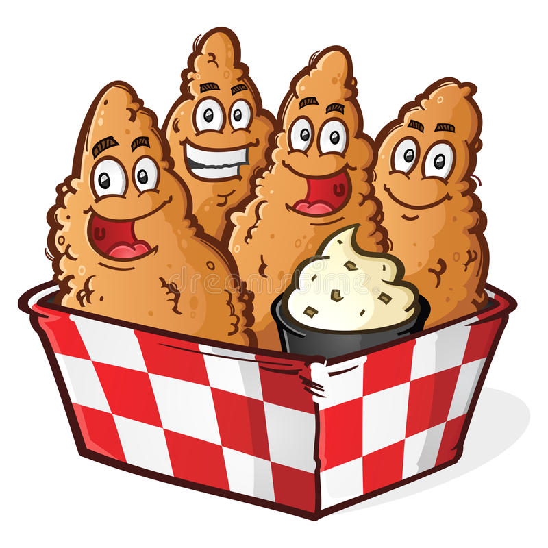 Chicken Tender Cartoon Characters. Four Crispy Golden Chicken Tenders Cartoon Characters in a Checkered Basket with Ranch Dipping Sauce vector illustration