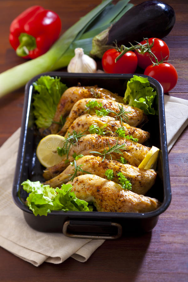 Chicken thighs royalty free stock photography